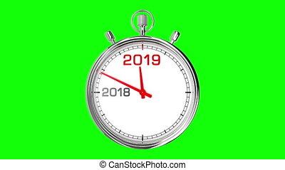 New Year 2019 Stopwatch (Green Screen)