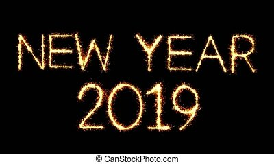 New Year 2019 Text Sparkler Glitter Sparks Firework Loop...