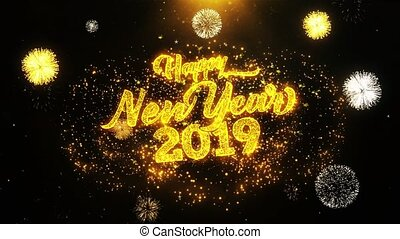 New Year 2019 text Sparks Particles Reveal from Golden...