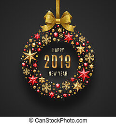 New year 2019 vector illustration. - New year 2019 greeting...