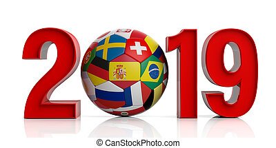New year 2019 with flags soccer football ball isolated on white background. 3d illustration