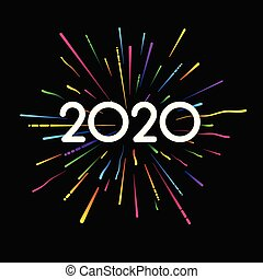 New Year 2020 black card with colorful firework.