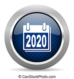 new year 2020 blue circle glossy web icon on white background, round button for internet and mobile app