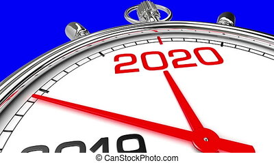 New Year 2020 Clock (Blue Screen) - Countdown from year 2019...