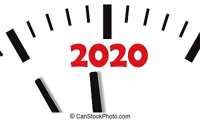 New Year 2020 Clock. Clock countdown to 2020. White background