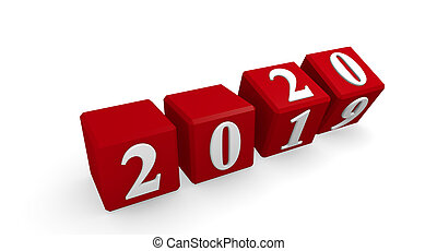 New Year 2020 concept 3d image on a white background, 3d...