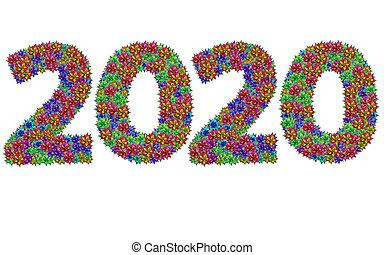 New year 2020 made from bromeliad flowers isolated on white background with clipping path