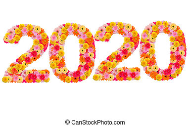 New year 2020 made from gerbera flowers isolated on white background