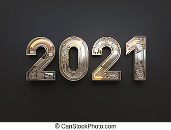 New year 2020 made from mechanical alphabet with gear