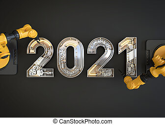 New year 2020 made from mechanical alphabet with robotic arm