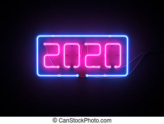 New year 2020 made from neon alphabet.