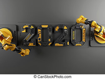 New year 2020 made from Robot alphabet