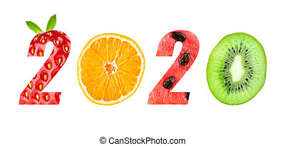 New year 2020 made of fruits