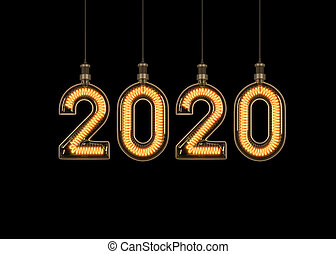 New year 2020 made of light bulb.