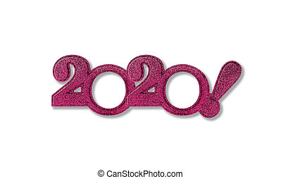 New Year 2020 numbers isolated.