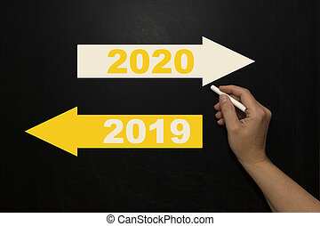 New year 2020 on the blackboard