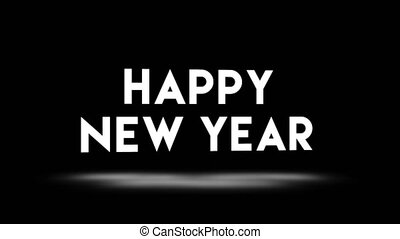 Happy New Year 2020 video card animation of holiday greetings text quote with shuffle effect in 80s neon holographic colors. Black background 4k seamless loop footage.