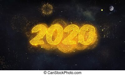 Happy New Year 2020 Text Typography Reveal From Golden Firework Crackers Particles Night Sky 4k Background. Greeting card, Celebration, Party, Invitation, Gift, Event, Holiday, Wish, Festival