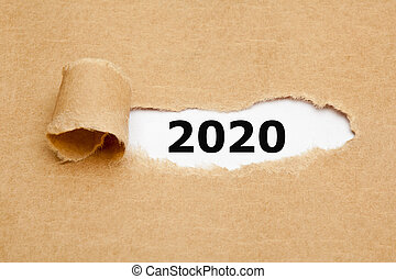 New Year 2020 Torn Paper Concept