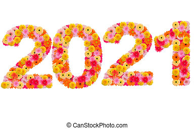 New year 2021 made from gerbera flowers isolated on white background