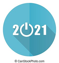 New year 2021 vector icon, flat design blue round web button isolated on white background