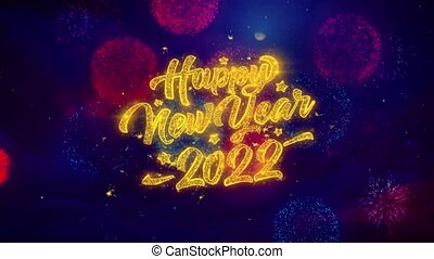 New Year 2022 Greeting Text Sparkle Particles on Colored...