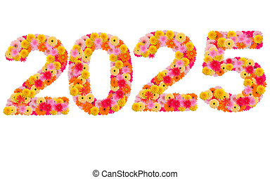 New year 2025 made from gerbera flowers isolated on white background