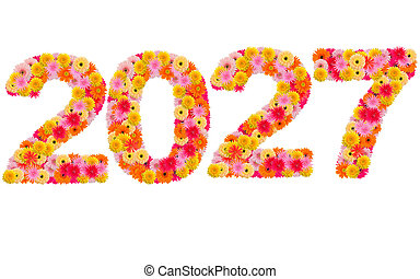 New year 2027 made from gerbera flowers isolated on white background