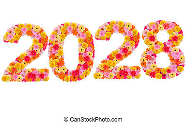 New year 2028 made from gerbera flowers isolated on white background