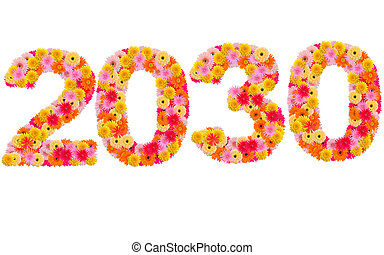 New year 2030 made from gerbera flowers isolated on white background
