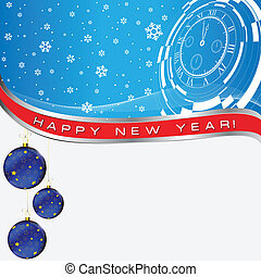 new year abstract card - new year card with christmas decor,...