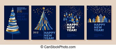 New Year and abstract Christmas tree posters