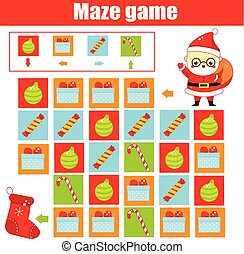 New Year and christmas activity. Maze game. Labyrinth with navigation. Help Santa find stocking