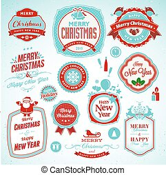 New Year and Christmas badges