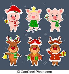 New Year and Christmas card. A set sticker of three deer and three pig characters in different hats and suits in winter. Gift box, candy, new year tree, bell. Cartoon style, vector