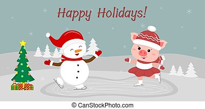 New Year and Christmas card. Cute snowman and a pig skating on ice. In winter, against the backdrop of snowflakes. Cartoon style, vector