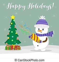 New Year and Christmas card. Cute snowman in a hat and scarf holding a cracker with confetti. Christmas tree ik orobki with gifts in winter against the background of snowflakes. Cartoon style, vector