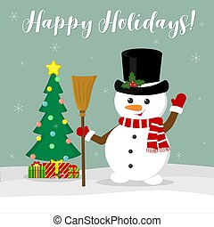 New Year and Christmas card. Cute snowman in a hat holding a broom. Christmas tree and boxes with gifts in winter against the background of snowflakes. Cartoon style, vector