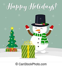 New Year and Christmas card. Cute snowman in a hat rejoices gift. Christmas tree and boxes with gifts in the winter against the background of snowflakes. Cartoon style, vector