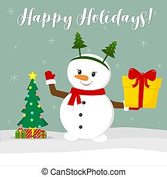New Year and Christmas card. Cute snowman in a rim with a Christmas tree and a scarf holding a box. Christmas tree and boxes in winter against the background of snowflakes. Cartoon style, vector