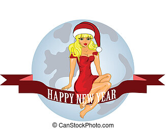 New year and Christmas card with a Snow Maiden