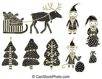 New Year and Christmas clipart. Set of a deer harnessed in a sleigh with gifts, 3 Christmas trees, 2 Santa Claus, Santa Claus rat and a bag with gifts drawn by hand on a white background. Vector.