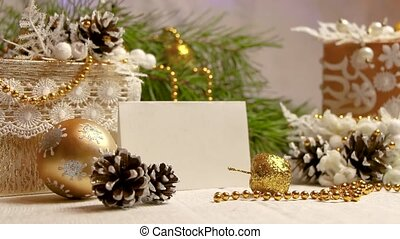 new year and christmas decorations and gifts in golden color with white backgroung side view
