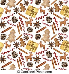 New Year and Christmas Decorative Elements - Watercolour Hand-drawn Illustration, Seamless Pattern