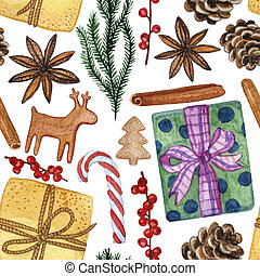 New Year and Christmas Decorative Elements - Watercolour Seamless Pattern, Hand-drawn Illustration of Various Details