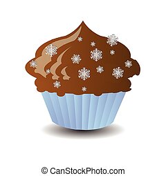 new year and christmas element. a delicious cake on a white easily separable background. illustration for your design
