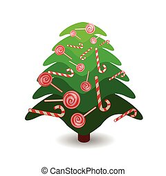 new year and christmas element icon. Christmas tree Christmas with caramel on the branches. on a white easily separable background. illustration for your design
