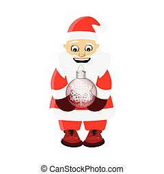 new year and christmas element. Santa Claus with a Christmas glass toy in his hands. on a white easily separable background. illustration for your design