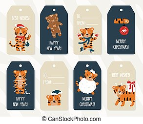 New Year and Christmas gift paper labels and tags set with funny tigers
