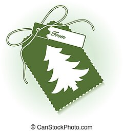 New year and christmas gift tag with christmas tree and ribbon.